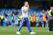 John Terry, the Chelsea captain applauds the fans during a walk around the pitch after full time. Barclays Premier league match, Chelsea v Leicester city at Stamford Bridge in London on Sunday 15th May 2016.<br /> pic by John Patrick Fletcher, Andrew Orchard sports photography.