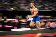 Brinn Bevan of Great Britain (GBR) sprints to the Vault during the iPro Sport World Cup of Gymnastics 2017 at the O2 Arena, London, United Kingdom on 8 April 2017. Photo by Martin Cole.