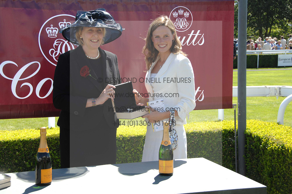 Left to right, SARAH DEAVES, UK Chief Executive, Coutts and FRANCESCA CUMANI at the 4th day of the Glorious Goodwood racing festival 2007 held at Goodwood Racecourse, West Sussex on 3rd August 2007.<br />