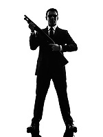 one caucasian killer man in silhouette on white background