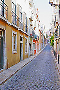 narrow streets and houses bairro alto lisbon portugal
