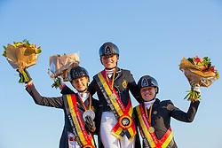 Podium Junioren, Van den Steen Amber, Vestergaard Karoline Sofi, Adriaensen Maud <br /> Belgisch Kampioenschap) - Hulsterlo -Meerdonk 2019<br /> © Hippo Foto - Leanjo de Koster<br /> 10/08/2019