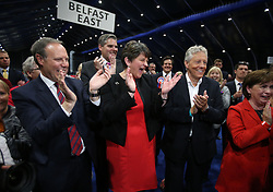(From the left) DUP deputy leader Nigel Dodds, leader Arlene Foster and former leader Peter Robinson cheer as Emma Little Pengelly is elected to the South Belfast constituency at the Titanic exhibition centre in Belfast where counting is taking place in the 2017 General Election.