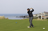 Marco Deane (RBAI) on the 1st tee during the Final of the Irish Schools Senior Championship at Portstewart Golf Club, Portstewart, Co Antrim on Tuesday 23rd April 2019.<br /> Picture:  Thos Caffrey / www.golffile.ie<br /> <br /> All photos usage must carry mandatory copyright credit (© Golffile | Thos Caffrey)