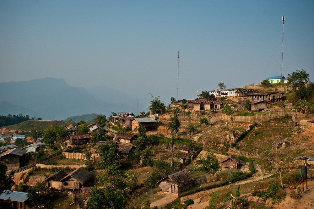 Government radio towers in Layshee, a prominent village in the Naga Hills of western Myanmar.