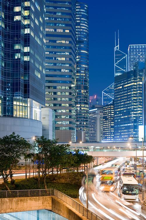 Skyline of office buildings at Connaught Road, Chung Wan (central district), Hong Kong Island, Hong Kong, China, Asia