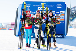 March 10, 2019 - Oslo, NORWAY - 190310 Natalia Nepryaeva of Russia, Therese Johaug of Norway and Ebba Andersson of Sweden celebrate after the women's 30 km classic technique mass start during the FIS World Cup on March 10, 2019 in Oslo..Photo: Jon Olav Nesvold / BILDBYRÃ…N / kod JE / 160424 (Credit Image: © Jon Olav Nesvold/Bildbyran via ZUMA Press)