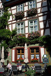 historic half-timbered guest house in Bacharach in Rhineland beside River Rhine Germany