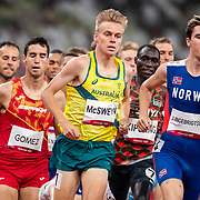 TOKYO, JAPAN:  August 5:   Stewart McSweyn of Australia and Jakob Ingebrigtsen of Norway the Olympic gold medal winner in action in the 1500m for Men semi-final 2 during the Track and Field competition at the Olympic Stadium  at the Tokyo 2020 Summer Olympic Games on August 5, 2021 in Tokyo, Japan. (Photo by Tim Clayton/Corbis via Getty Images)