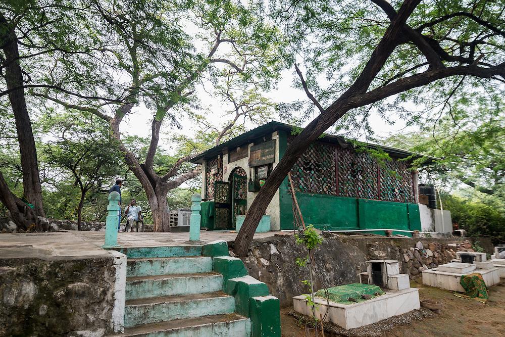 The shrine of Khwaja Moluddin Chishti a tiny holy shrine in Delhi's central ridge forest