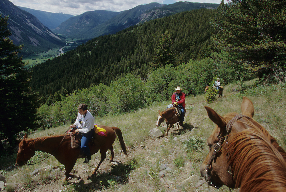North America, United States, Montana, Boulder River Valley, group of riders on horseback on trail above valley