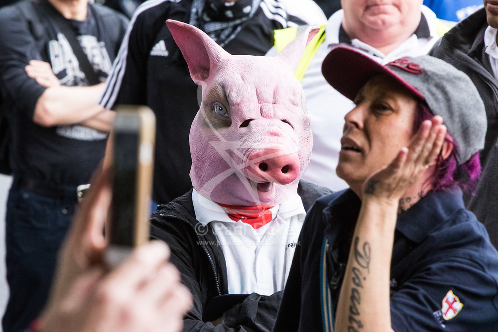 London, June 24th 2017. Anti-fascist protesters counter demonstrate against a march to Parliament by the far right anti-Islamist English Defence League. PICTURED: A member of the EDL wears a pig mask, a common device aimed at offending Muslims.