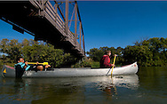 9/27/08 Valentine, NEB.Canoers or kayakers on the Niobrara River.Thomas McGuire (left) and Nick Arneson members of the University of Nebraska at Lincoln Wildlife Club. .Chris Machian/for the New York Times