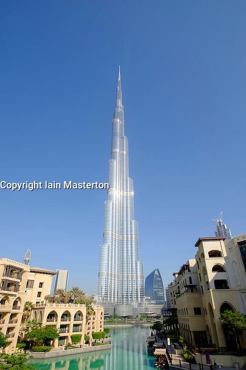 View of Burj Khalifa skyscraper , world's tallest building and lake in Dubai United Arab Emirates
