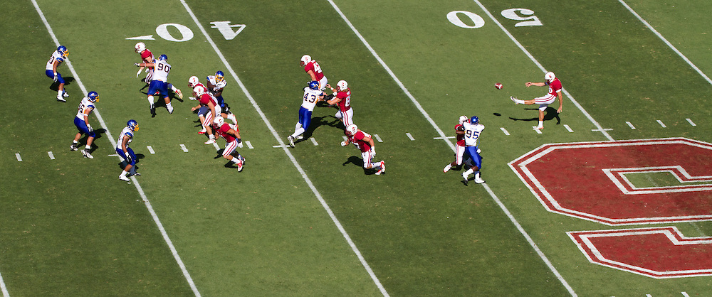 San Jose State kicks off the 2011 football season against Stanford University (7) in Palo Alto, Calif., Sept. 3, 2011.  Quaterback Andrew Luck and the Cardinals proved to be too much for the Spartans to handle, winning 57-3. (Spartan Daily/Stan Olszewski)