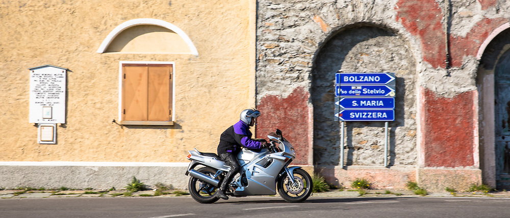 Motorcyclist on The Stelvio Pass, Passo dello Stelvio, Stilfser Joch, on route from to Trafoi in the Alps, Northern Italy