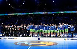 Slovenian team celebrate after their victory  after 25th IHF men's world championship 2017 match between Croatia and Slovenia at Accord hotel Arena on january 28 2017 in Paris. France. PHOTO: CHRISTOPHE SAIDI / SIPA / Sportida