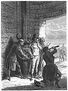 Artist's impression of Claude Chappe (1763-1805) demonstrating his optical telegraph (semaphore) system in 1793. From Louis Figuier 'Les Merveilles de la Science', Paris c.1870. Engraving