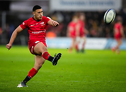 Manu Vunipola of Saracens converts<br /> <br /> Photographer Simon King/Replay Images<br /> <br /> European Rugby Champions Cup Round 5 - Ospreys v Saracens - Saturday 11th January 2020 - Liberty Stadium - Swansea<br /> <br /> World Copyright © Replay Images . All rights reserved. info@replayimages.co.uk - http://replayimages.co.uk