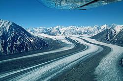 Flying over the Kaskawulsh Glacier, Kluane National Park, Yukon