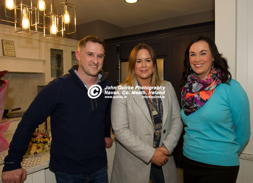08-11-19. CBK Design 25 Years Anniversary and Official Opening of their rebranded store in Mullaghboy Industrial Estate, Navan.<br /> Pictured at the CBK rebranding and celebration from left, Robbie Guy, Boardsmill. Sharon McGloin, Dunboyne and Emma Reilly, Trim.<br /> Photo: John Quirke / www.quirke.ie<br /> ©John Quirke Photography, Unit 17, Blackcastle Shopping Cte. Navan. Co. Meath. 046-9079044 / 087-2579454.