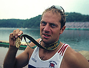 Atlanta, USA. GBR M2-, Gold Medalist, Steve REDGRAVE  with his fourth Olympic Gold Medal. 1996 Olympic Rowing Regatta Lake Lanier, Georgia [Mandatory Credit Peter Spurrier/ Intersport Images]