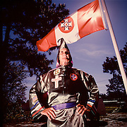 Horace King of the CKKK (Christian Knights of the Ku Klux Klan).  Photographed by Brian Smale for Spin Magazine. In 1998 King was ordered to pay the Macedonia Baptist Church $15 Million, for his role in the burning of the church building.