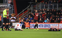 Brighton & Hove Albion's Dale Stephens (left) and Bournemouth's Jordon Ibe lay on the floor apparently injured during the Emirates FA Cup, third round match at the Vitality Stadium, Bournemouth.