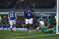 Romelu Lukaku of Everton celebrates after scoring his teams 2nd goal. Capital one cup semi final 1st leg match, Everton v Manchester city at Goodison Park in Liverpool on Wednesday 6th January 2016.<br /> pic by Chris Stading, Andrew Orchard sports photography.