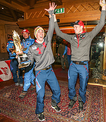 06.01.2014, Berghof, St. Johann Alpendorf, AUT, FIS Ski Sprung Weltcup, 62. Vierschanzentournee, Siegesfeier, im Bild Thomas Diethart (AUT) und Thomas Morgenstern (AUT) jubelt, dahinter Cheftrainer Alexander Pointner (AUT)  // in the background Cheftrainer Alexander Pointner (AUT), Thomas Diethart (AUT) and Thomas Morgenstern (AUT) celebrates after Winning the 62nd Four Hills Tournament of FIS Ski Jumping World Cup at the Hotel Berghof, St. Johann Alpendorf, Austria on 2014/01/06. EXPA Pictures © 2014, PhotoCredit: EXPA/ JFK