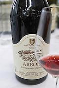 bottle with moulded relief on the neck les grandes gardes.. domaine de la pinte arbois france