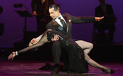 "© Licensed to London News Pictures. 30/01/2013. London, England. Scene: Gallo Ciego danced by Marcos Esteban Roberts and Louise Junqueira Malucelli. The show ""FLAMES OF DESIRE"" by the Argentine dance company ""TANGO FIRE"" opens at the Peacock Theatre, London for a run to 24 February 2013. Photo credit: Bettina Strenske/LNP"