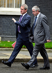 © Licensed to London News Pictures. 23/10/2012. Westminster, UK Environment Secretary Owen Paterson (L)  Ministers attend a Cabinet Meeting in 10 Downing Street today 23 October 2012. Photo credit : Stephen Simpson/LNP
