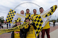 Burton Albion fans outside Wembley Stadium before k.o. Skybet football league two play off final match , Burton Albion v Fleetwood Town at Wembley Stadium in  London on Monday 26th May 2014.<br /> pic by John Patrick Fletcher, Andrew Orchard sports photography.