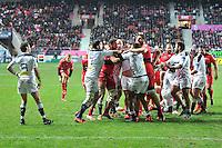 Altercation - 28.12.2014 - Stade Francais / Racing Club Toulon - 14eme journee de Top 14<br />Photo : Aurelien Meunier / Icon Sport