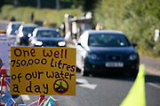 Signage outside Cuadrillas gates in New Preston Road, Lancashire, United Kingdom, June 29th 2018.  Block Around the Clock - a fourty eight hours of event with work shops, yoga, sleeping and anti-fracking campaigning in front of the gates to Cuadrillas fracking site in Lancashire. The event was organised by anti-fracking campaigners in spite of an injunction granted to Cuadrilla to prevent protest against the impending shale gas exploitation. The Cuadrilla site in Lancashire in a highly contested site, almost ready to drill for gas.