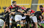 Luke Whitelock of Canterbury pops out of the scrum during the Mitre 10 Cup rugby match between the Wellington Lions & Canterbury at Westpac Stadium, Wellington. Friday 23rd August 2019. Copyright Photo: Grant Down / www.Photosport.nz