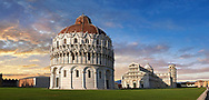 Exterior view of the Bapristry and Duomo cathedral of Pisa, Italy . The Pisa Baptistery of St. John is a Roman Catholic ecclesiastical building in Pisa, Italy. Construction started in 1152 to replace an older baptistery, and when it was completed in 1363, it became the second building, in chronological order, in the Piazza dei Miracoli, near the Duomo di Pisa . The largest baptistery in Italy, it is 54.86 m high, with a diameter of 34.13 m. The Pisa Baptistery is an example of the transition from the Romanesque style to the Gothic style: the lower section is in the Romanesque style, with rounded arches, while the upper sections are in the Gothic style, with pointed arches. The Baptistery is constructed of marble, as is common in Italian architecture.
