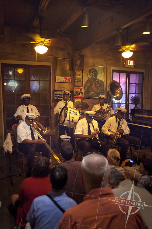 Preservation Hall and the Preservation Hall Jazz Band in the French Quarter of New Orleans, Louisiana.