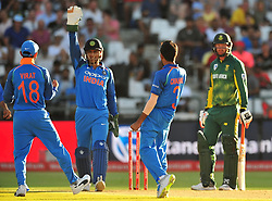 Cape Town-180207   India spin  bowler Yuzvendra Chahal celebrates his wicket after bowling out Heinrich Chahal  of South Africa with a LWB  in a ODI game at Newlands against South Africa.photograph:Phando Jikelo/African News Agency(ANA)