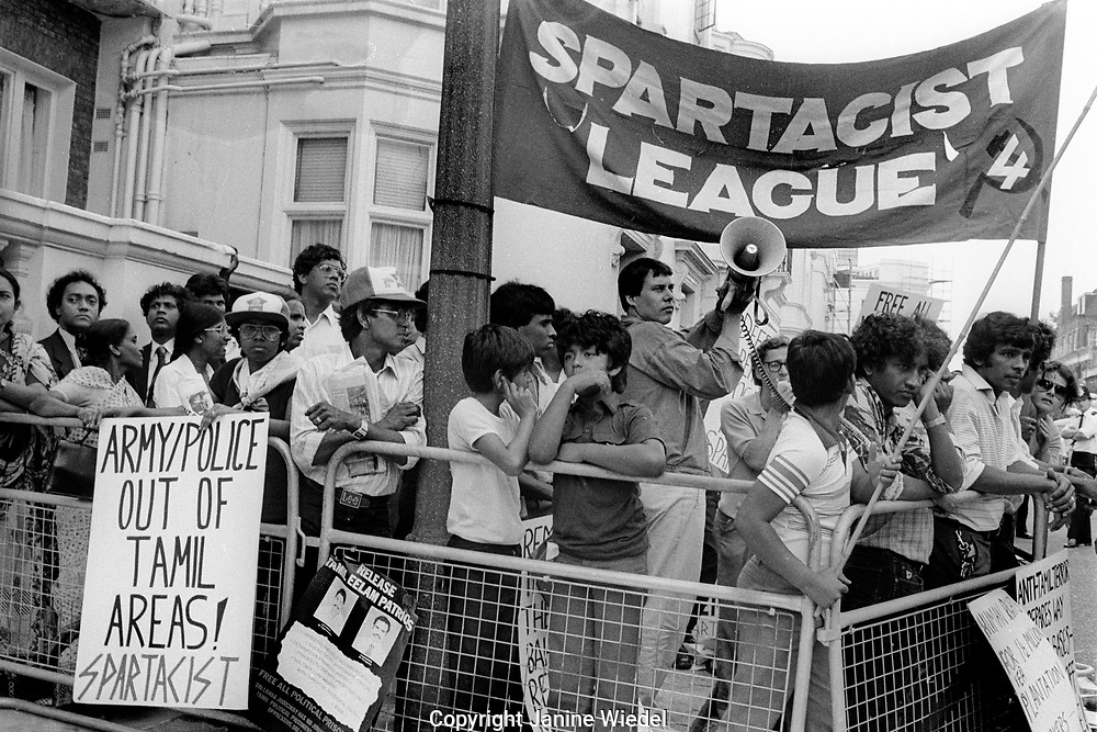 Eelam Tamil protest in London during Black July 1983 when there was a Sinhalese led anti-Tamil Pogrom, riot and massacre<br />  in Sri Lanka. It marked the beginning of the Sri Lankan Civil War between Tamil militants and the Government in Sri Lanka. Over 3,000 Tamils were murdered and over 150.000 people made homeless. Many Tamils fled to other countries forming Tamil diaspora communities.