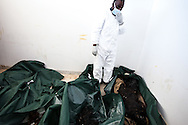 A hospital looks at the burnt bodies of nine unidentifiable  soilders tortured by Qadaffi's forces for defecting in Benghazi during the uprising on March 1, 2011.