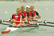 FISA World Cup Rowing Munich Germany..27/05/2004..Thursday morning opening heats...DEN LM4-. Stroke Eskild Ebbesen, Thor Kristensen, Thomas Ebert and Bo Helleberg. [Mandatory Credit: Peter Spurrier: Intersport Images].