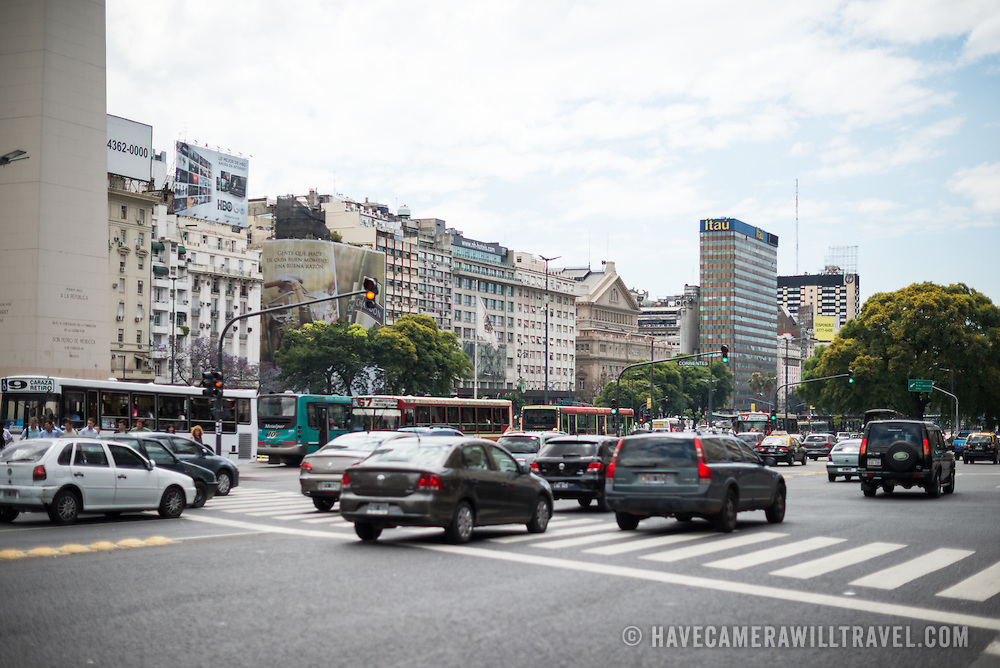 The Obelisk of Buenos Aires in the Plaza de la República in downtown Buenos Aires, Argentina.