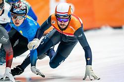Sjinkie Knegt of Netherlands in action on 500 meter during ISU World Short Track speed skating Championships on March 06, 2021 in Dordrecht