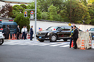 """May 25, 2019, Tokyo, Japan: President Donald Trump touched down in Japan today to start a four day state visit. Upon arrival, he and First Lady Melania headed directly to the US Ambassador's official residence where he addressed a group of Japanese and American business leaders. Hosted by US Ambassador William Hagerty, the president said the US and Japan are """"hard at work"""" to iron out a trade agreement, but also made mention of a trade gap in Japan's favor. In attendance were Toyota Motor Corp President Akio Toyoda and SoftBank CEO Masayoshi Son. Trump is in Japan for trade talks and to discuss the threat of North Korea. He will also meet with Japan's new emperor Naruhito, play a round of golf with PM Abe and attend a sumo tournament.  Photo by Torin Boyd."""