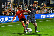 Luton Town midfielder Jordan Clark (18) battles for possession  with Nottingham Forest defender Joe Lolley (23) during the EFL Sky Bet Championship match between Luton Town and Nottingham Forest at Kenilworth Road, Luton, England on 28 October 2020.