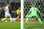 Burton Albion midfielder David Templeton (11) shoots at goal  during the EFL Sky Bet League 1 match between Burton Albion and Coventry City at the Pirelli Stadium, Burton upon Trent, England on 17 November 2018.