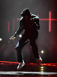 Skepta on stage at the BRIT Awards 2017, held at The O2 Arena, in London.<br /><br />Picture date Tuesday February 22, 2017. Picture credit should read Matt Crossick/ EMPICS Entertainment. Editorial Use Only - No Merchandise.