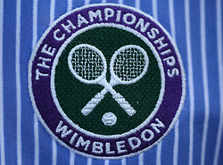 A Wimbledon logo on a umpires shirt on day four of the Wimbledon Championships at the All England Lawn Tennis and Croquet Club, Wimbledon. PRESS ASSOCIATION Photo. Picture date: Thursday July 6, 2017. See PA story TENNIS Wimbledon. Photo credit should read: Philip Toscano/PA Wire. RESTRICTIONS: Editorial use only. No commercial use without prior written consent of the AELTC. Still image use only - no moving images to emulate broadcast. No superimposing or removal of sponsor/ad logos.
